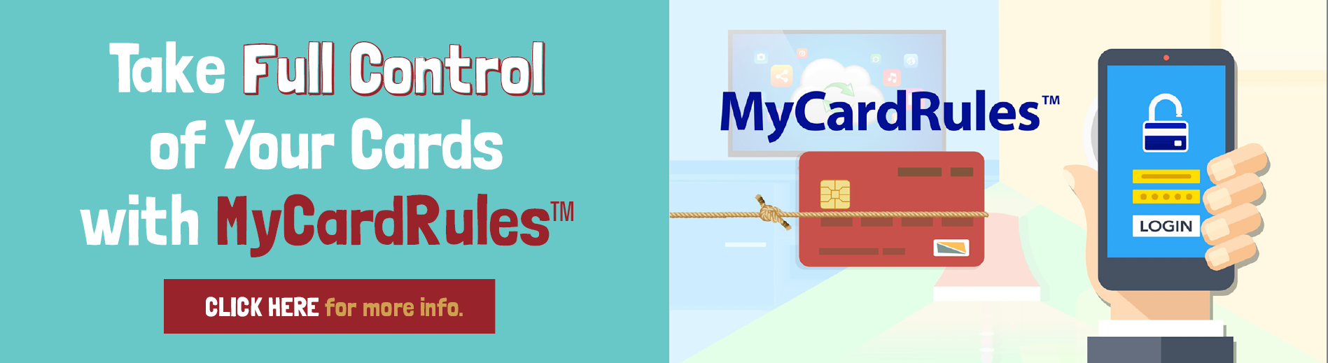 Take full control of your cards with MyCardRules.  Click for more information.